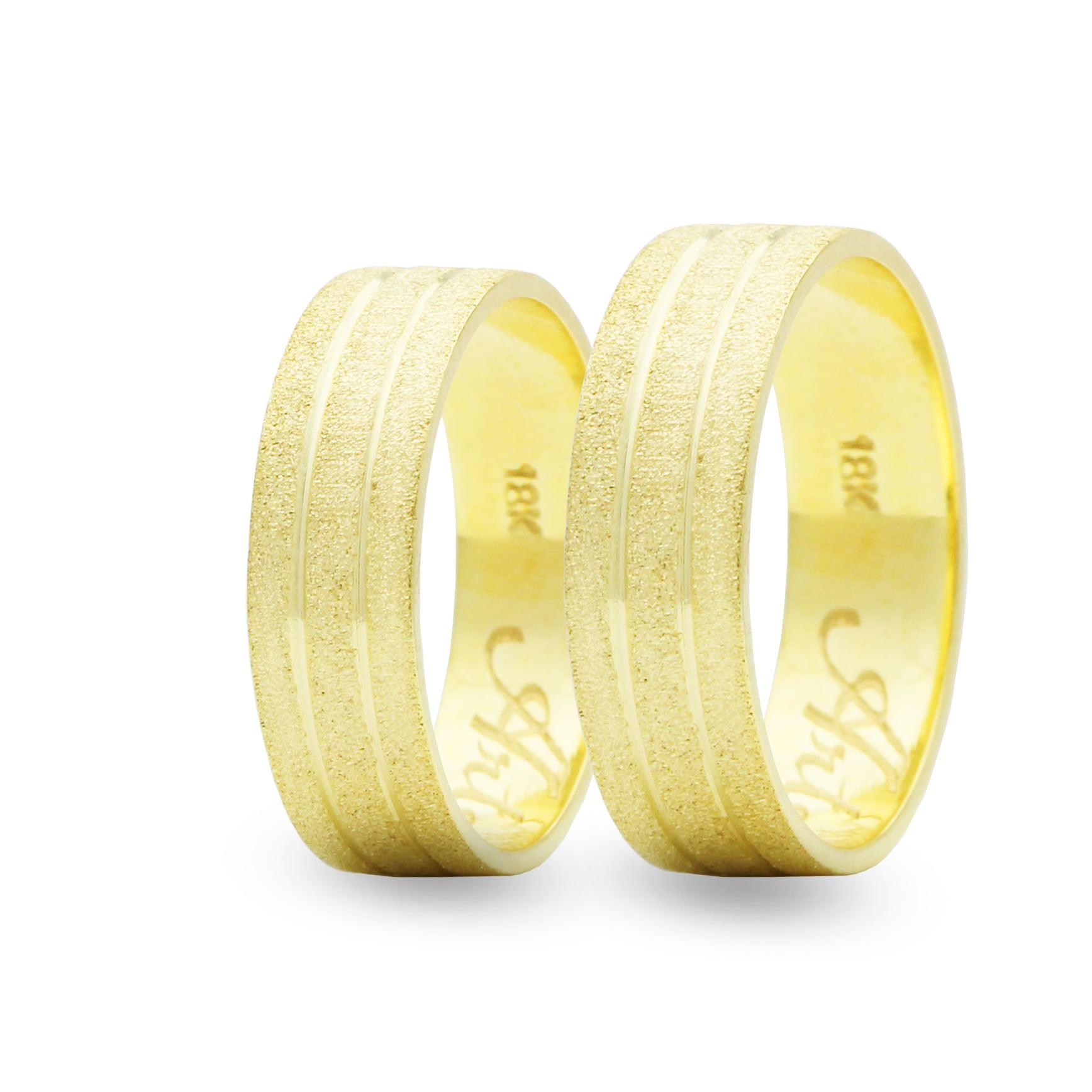 Par de Alianças em Ouro 18k 10 gramas 7mm de largura – Quadrada Trabalhada Diamantada