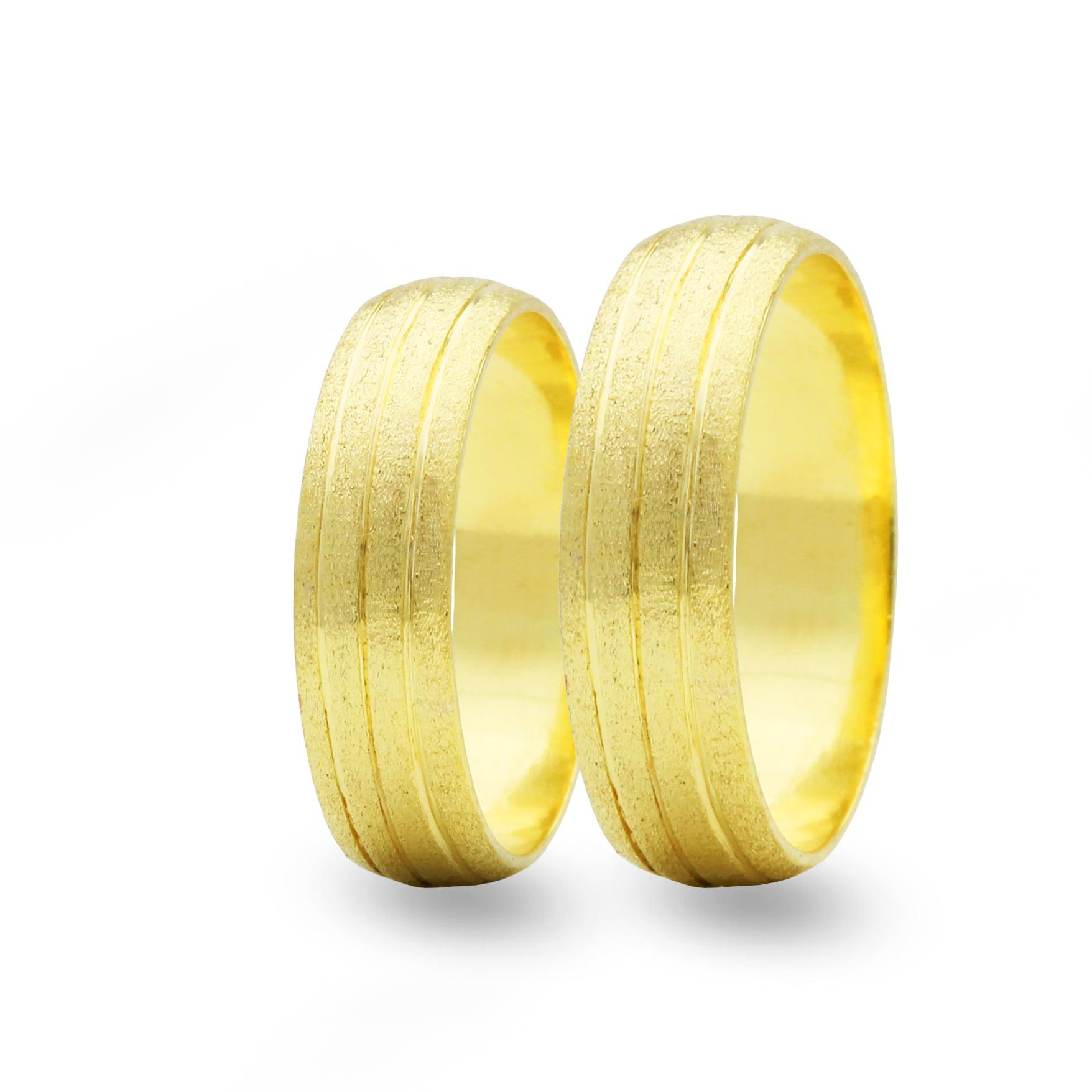 Par de Alianças em Ouro 18k 8 gramas 5mm de largura – Abaulada Trabalhada