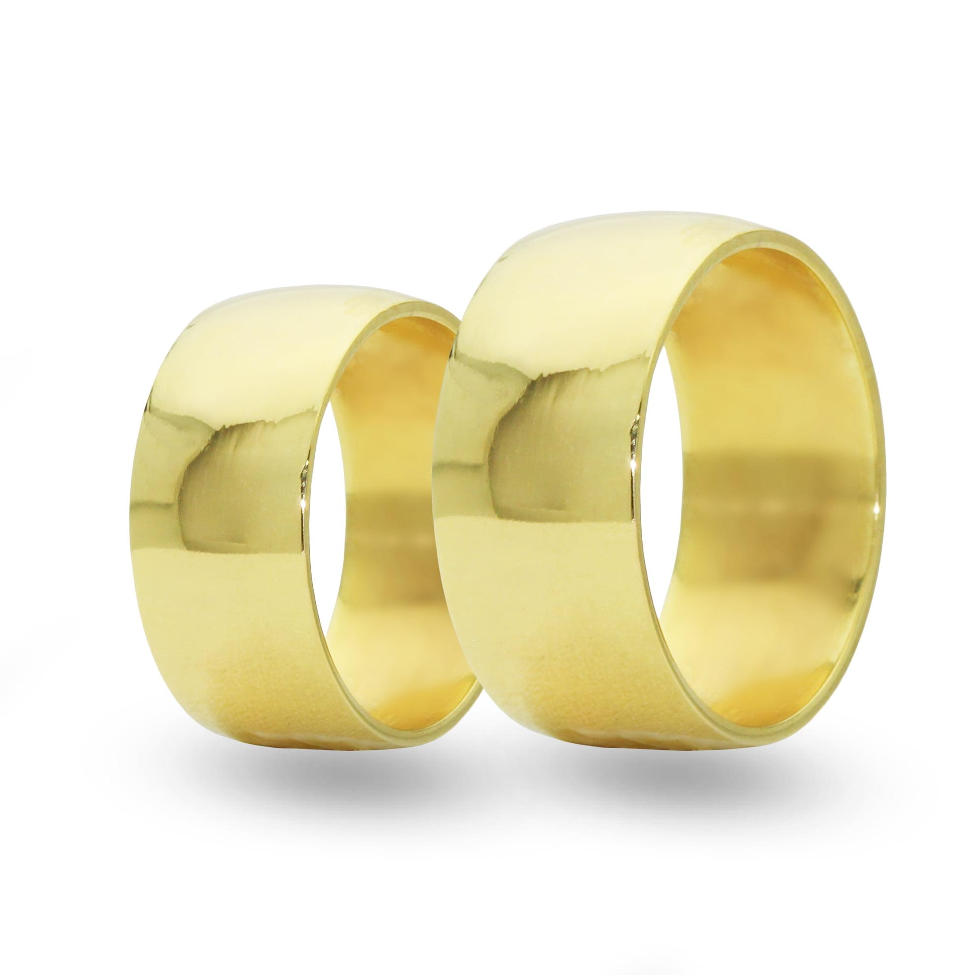 Par de Alianças em Ouro 18k 7 gramas 7mm de largura – Fio Reto Polida