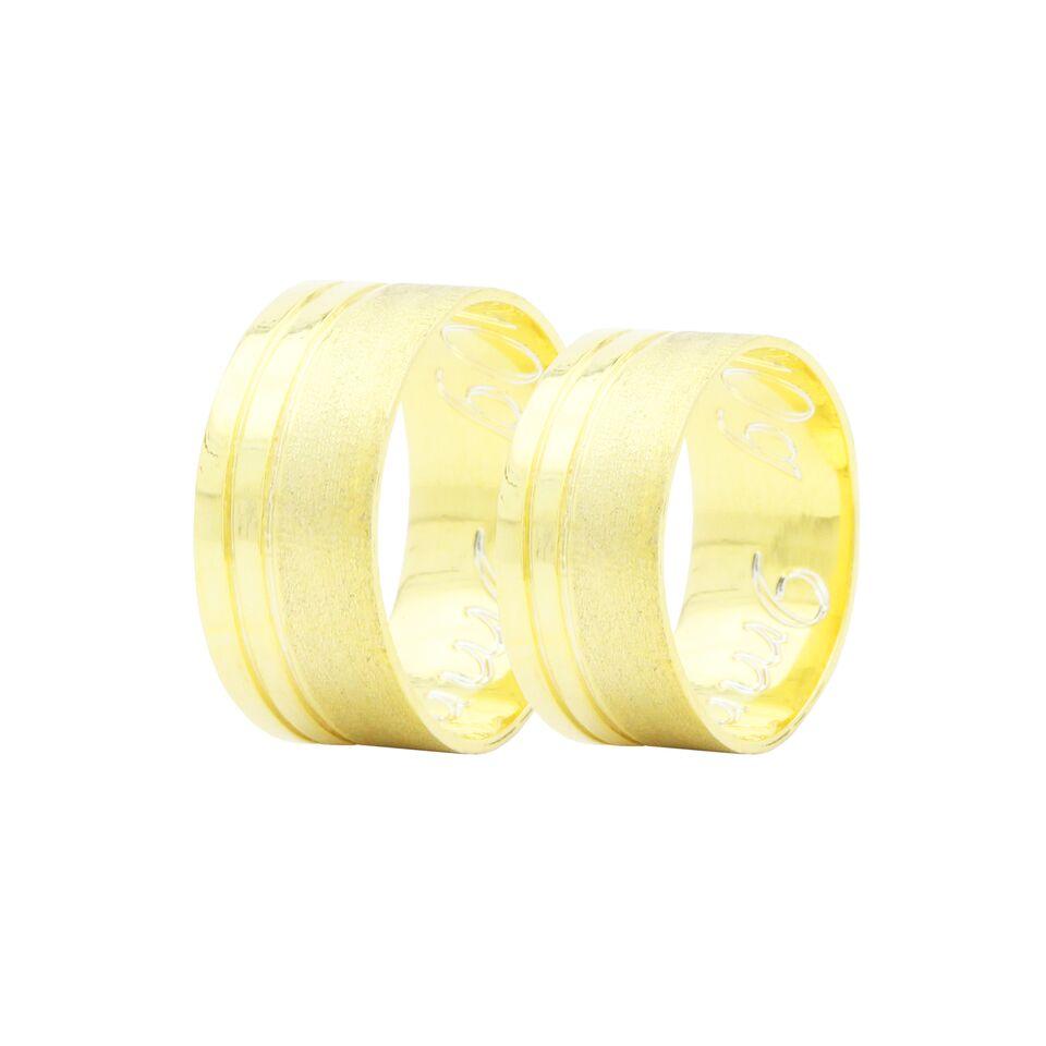Par de Alianças em Ouro 18k +/- 10 gramas 9mm de largura – Slim Trabalhada