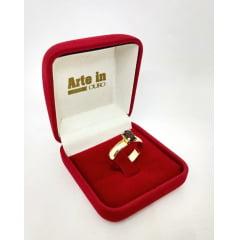 Anel Ouro 18k Com Pedra de Zircônia