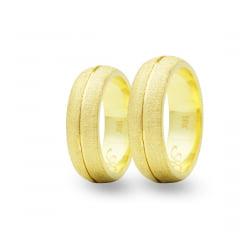 Par de Alianças em Ouro 18k 15 gramas 7mm de largura – Abaulada Trabalhada Diamantada
