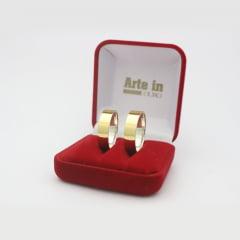 Par de Alianças em Prata 950 com camada de Ouro 18k 6mm de largura - Quadrada Lisa