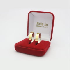 Par de Alianças em Prata 950 com camada de Ouro 18k 4mm de largura - Quadrada lisa