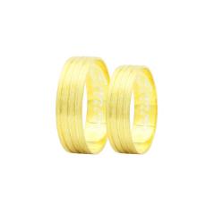 Par de Alianças em Ouro 18k 5 gramas 6mm de largura – Slim Trabalhada