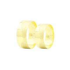 Par de Alianças em Ouro 18k 8 gramas 8mm de largura – Slim Trabalhada