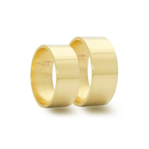 Par de Alianças em Ouro 18k 20 gramas 9mm de largura – Quadrada lisa