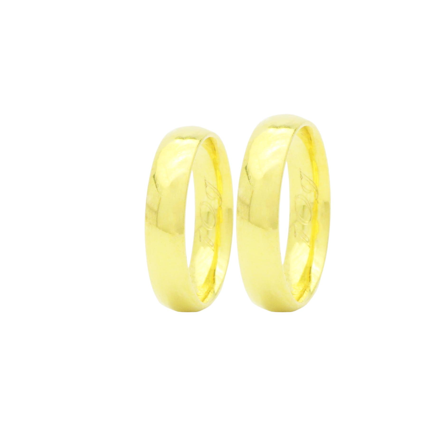 Par de Alianças em Ouro 18k +/- 10 gramas 5mm de largura – Abaulada Lisa Confort