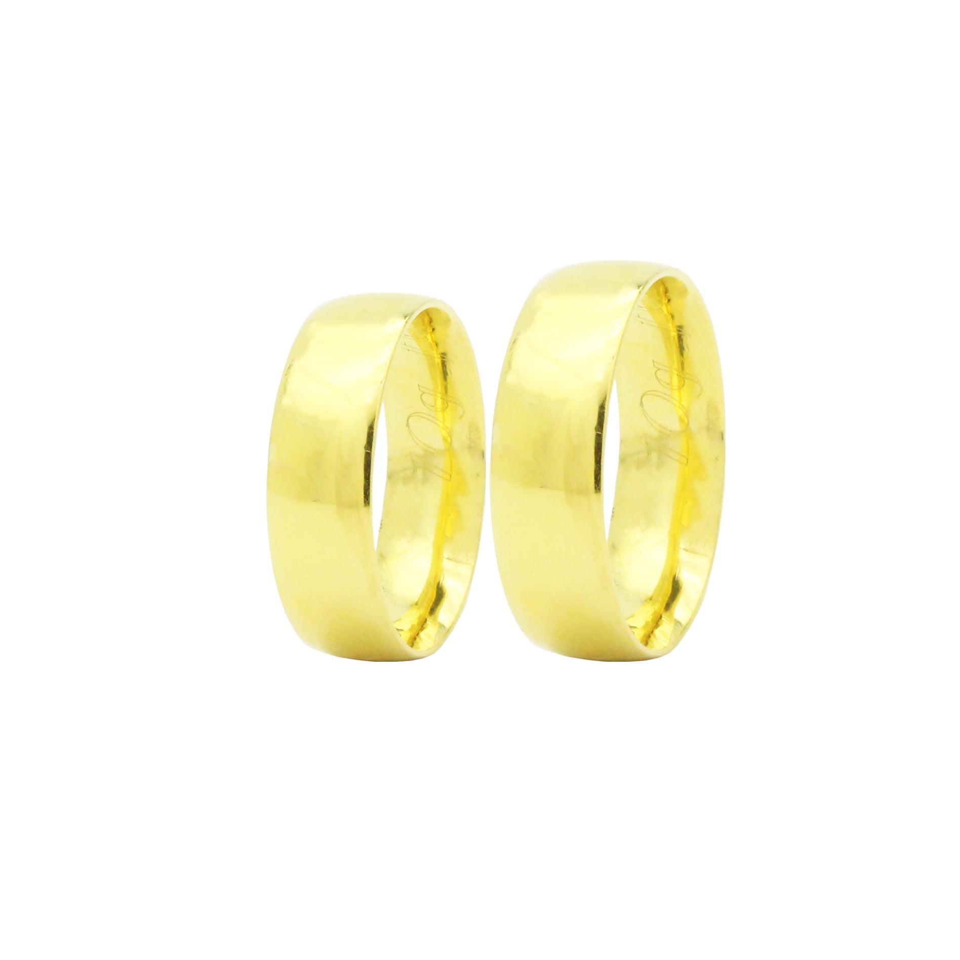 Par de Alianças em Ouro 18k 10 gramas 6mm de largura – Fio Reto Lisa Confort